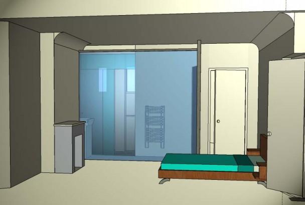 R novation d appartement paroi en verre d poli piot architecture - Cloison verre depoli ...